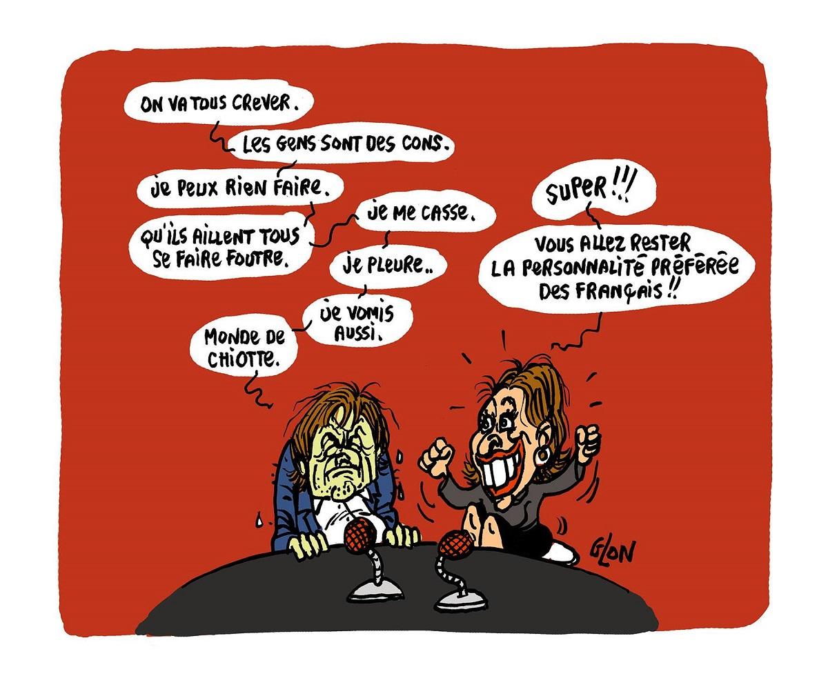 dessin d'actualité humoristique sur l'intervention de Nicolas Hulot dans l'émission politique avec Léa Salamé