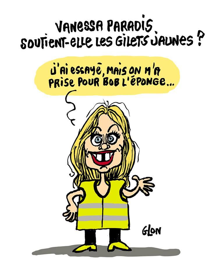dessin d'actualité humoristique de Vanessa Paradis soutenant le mouvement des gilets jaunes
