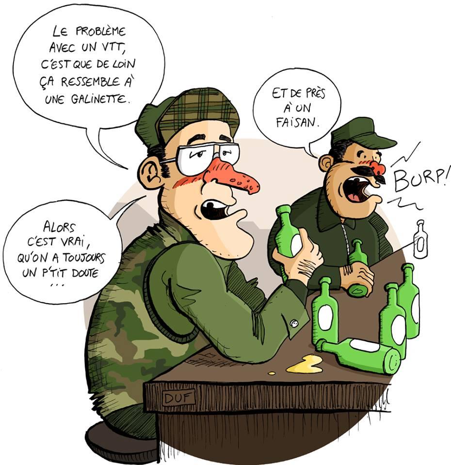 dessin d'actualité humoristique sur le problème du VTT pendant la chasse