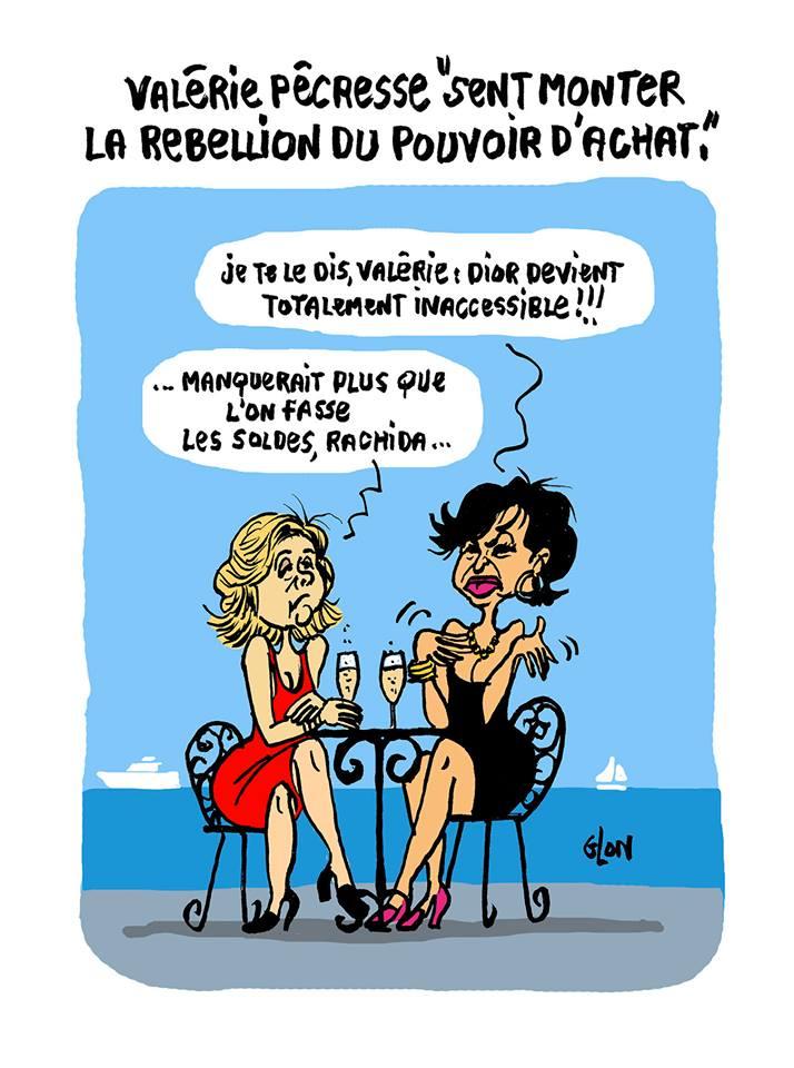 dessin d'actualité humoristique de Valérie Pécresse et Rachida Dati discutant du pouvoir d'achat