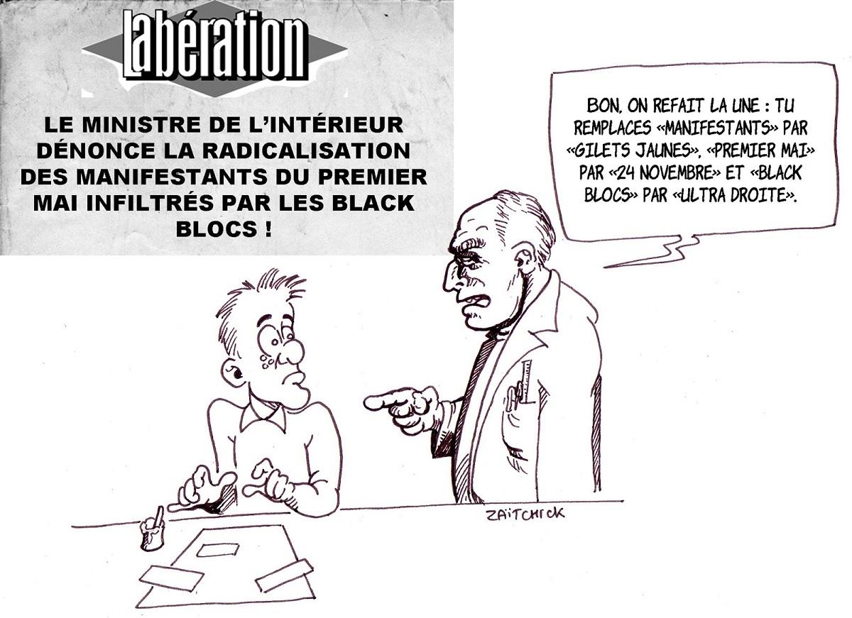 dessin d'actualité humoristique sur le traitement du mouvement des gilets jaunes par la presse