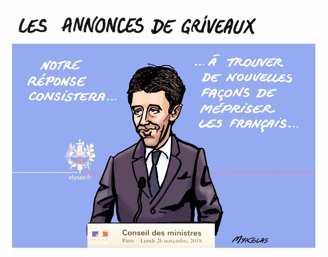dessin d'actualité humoristique sur les annonces de Benjamin Griveaux au Conseil des Ministres