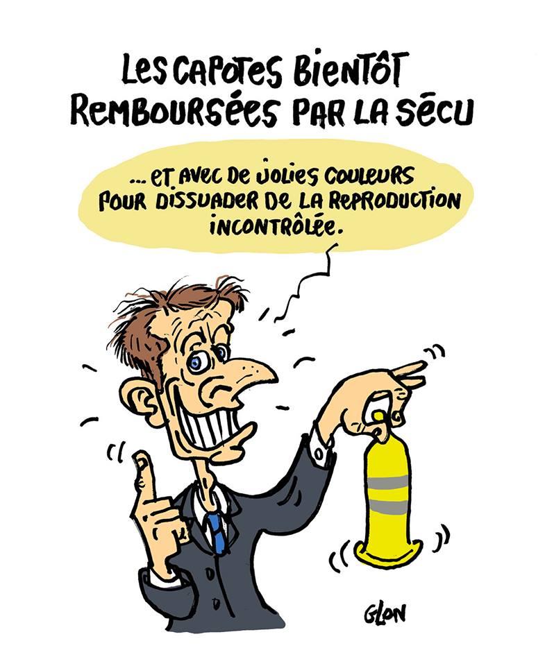 dessin d'actualité humoristique d'Emmanuel Macron présentant le projet de remboursement des préservatifs