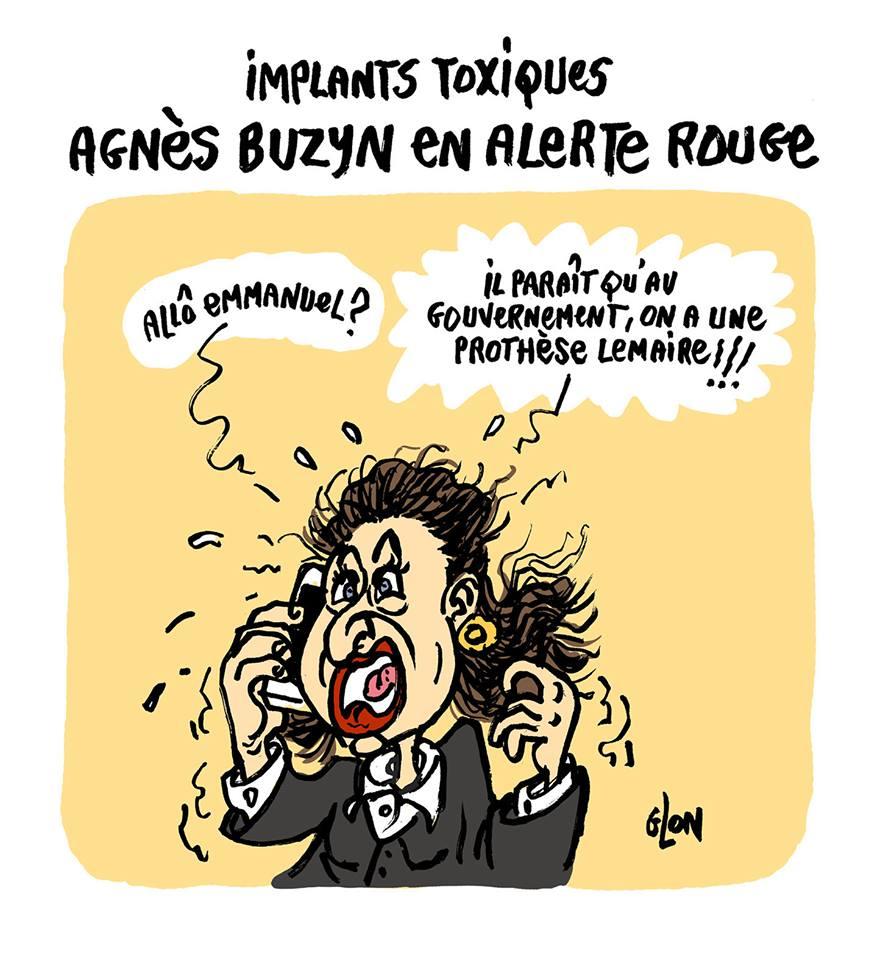 dessin d'actualité humoristique sur la réaction d'Agnès Buzyn confronté au problème des implants toxiques
