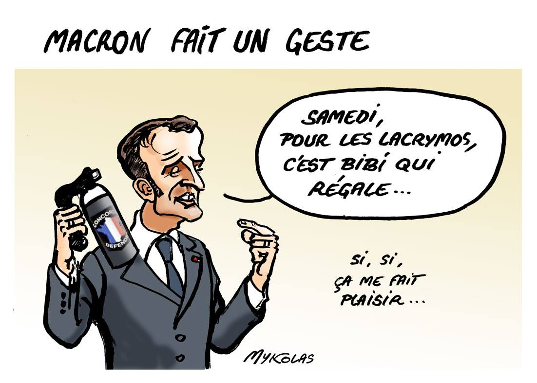 dessin d'actualité humoristique sur le geste d'Emmanuel Macron face au mouvement des gilets jaunes