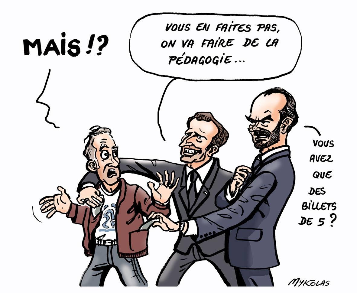 dessin d'actualité humoristique d'Emmanuel Macron et Édouard Philippe piochant dans les poches des français