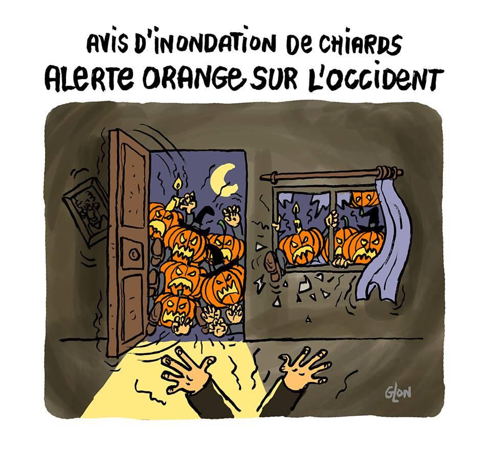 dessin d'actualité humoristique sur Halloween et les alertes oranges