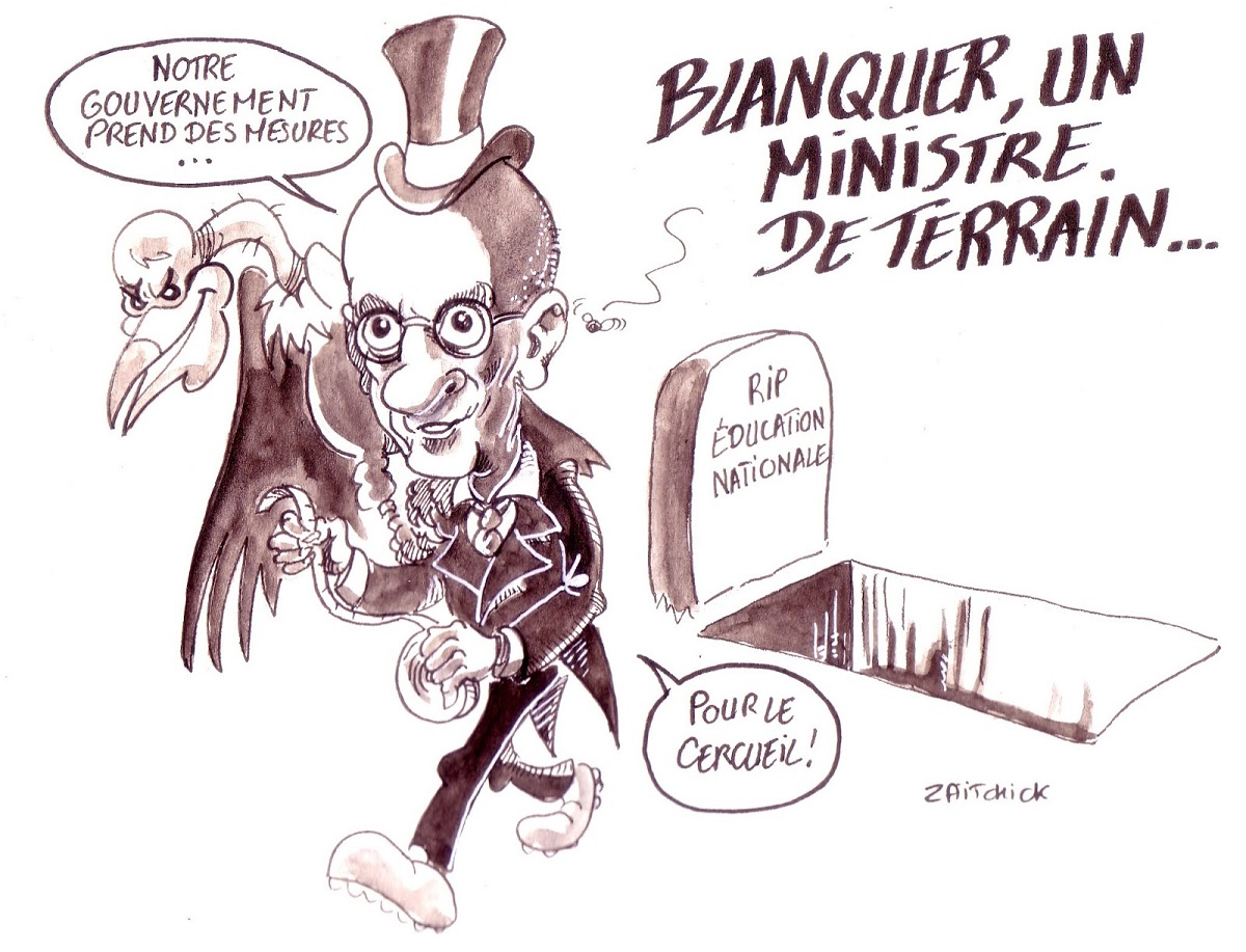 dessin humoristique de Jean-Michel Blanquer s'apprêtant à enterrer l'Éducation Nationale