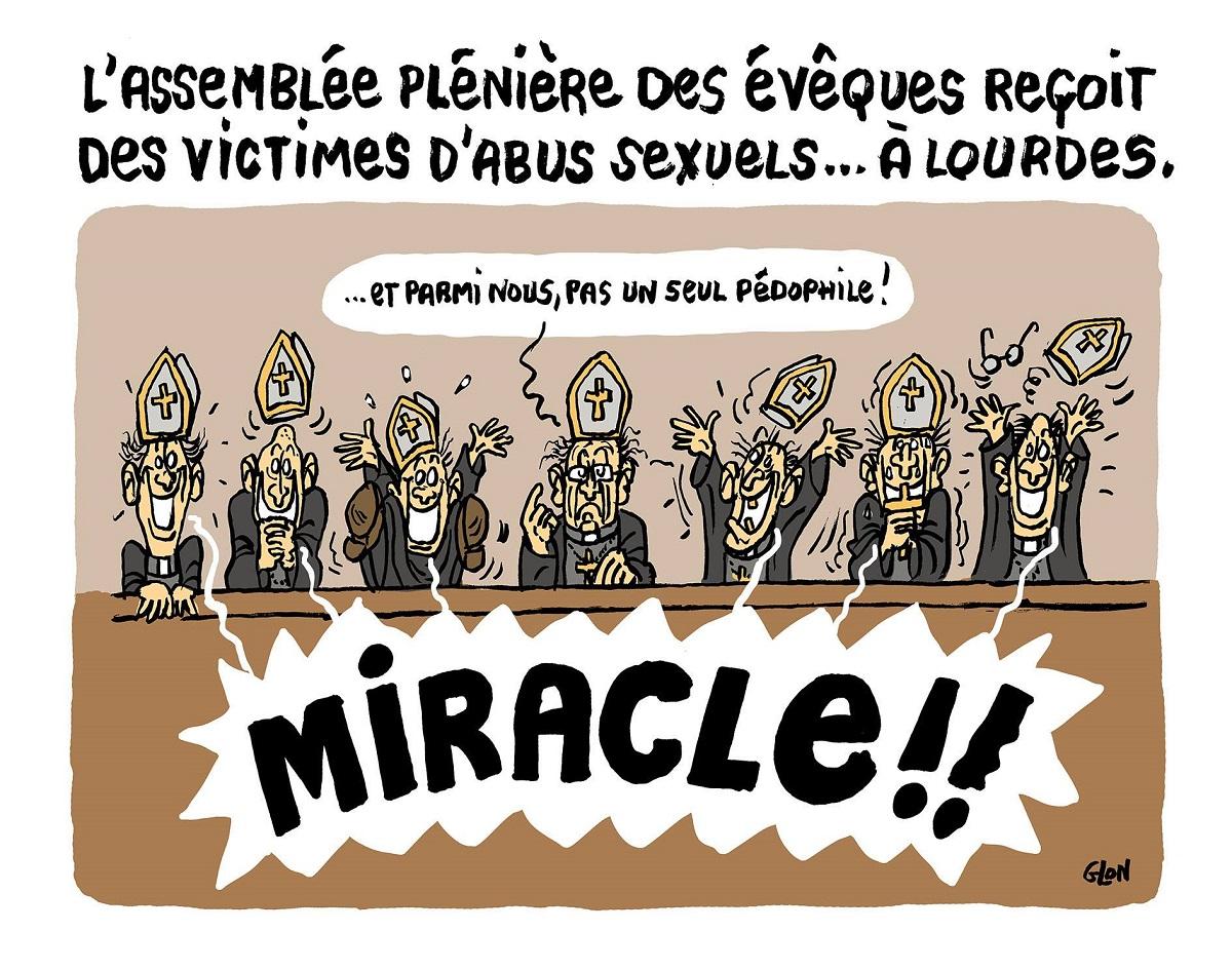 dessin d'actualité humoristique de l'assemblée plénière des évêques qui reçoit des victimes d'abus sexuels à Lourdes