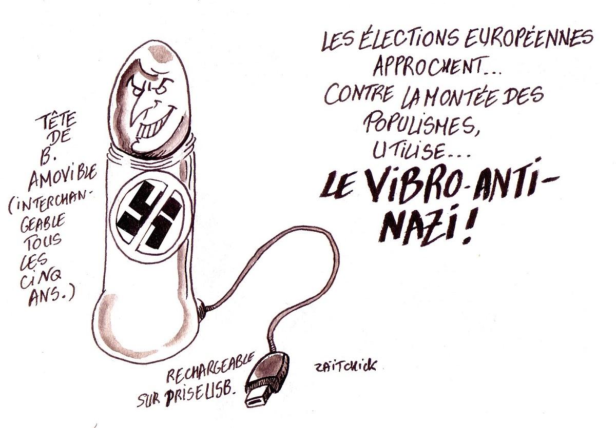 dessin d'actualité humoristique sur les élections européennes et le vibromasseur anti-populisme
