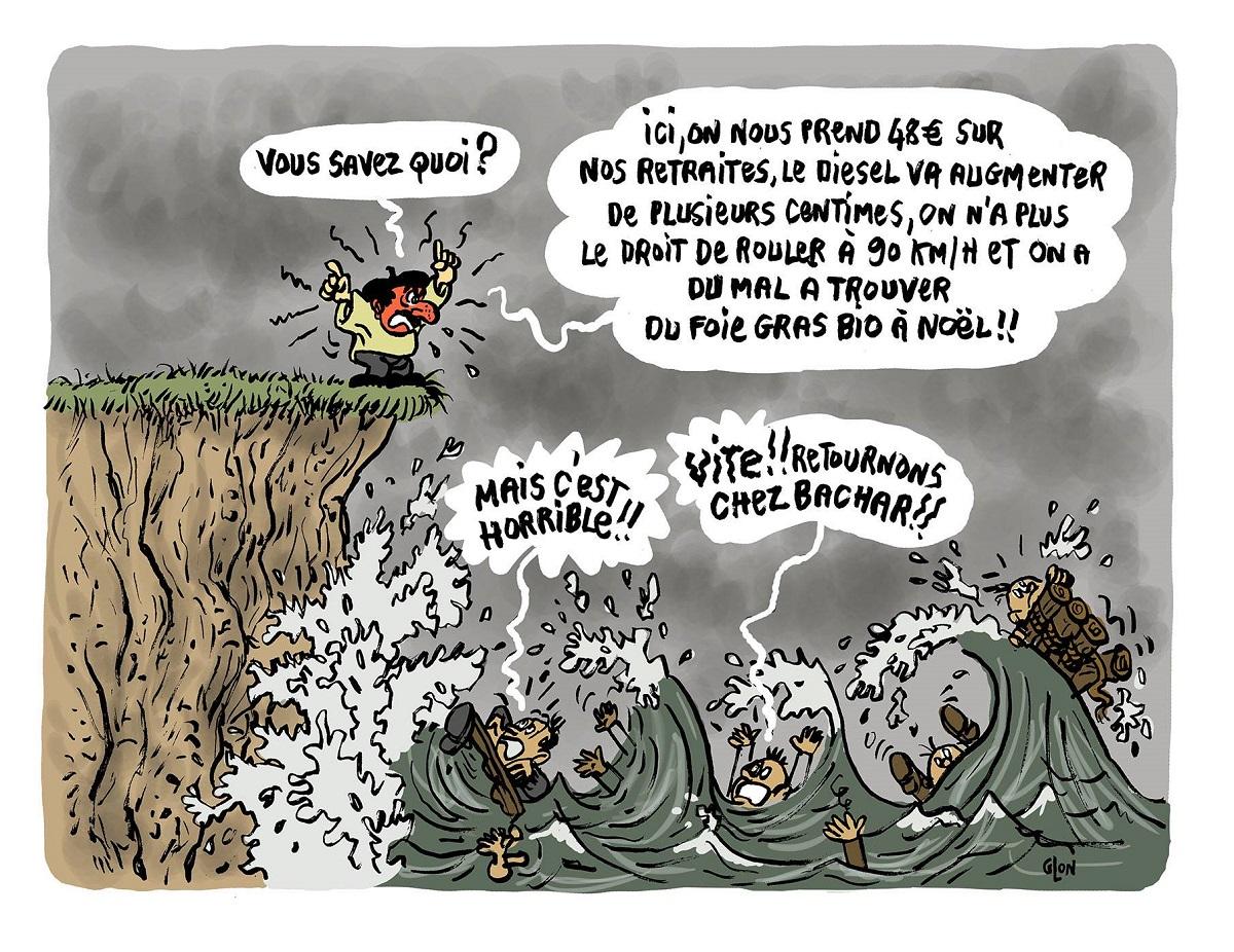 dessin d'actualité humoristique sur les problèmes des Français