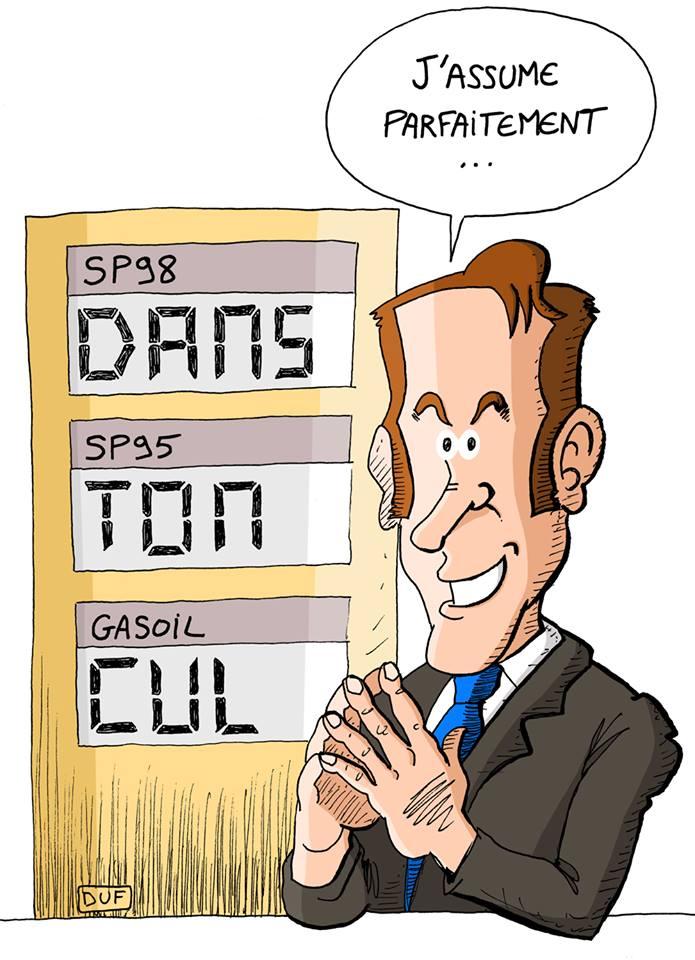 dessin d'actualité humoristique sur Emmanuel Macron qui assume la hausse des prix du carburant