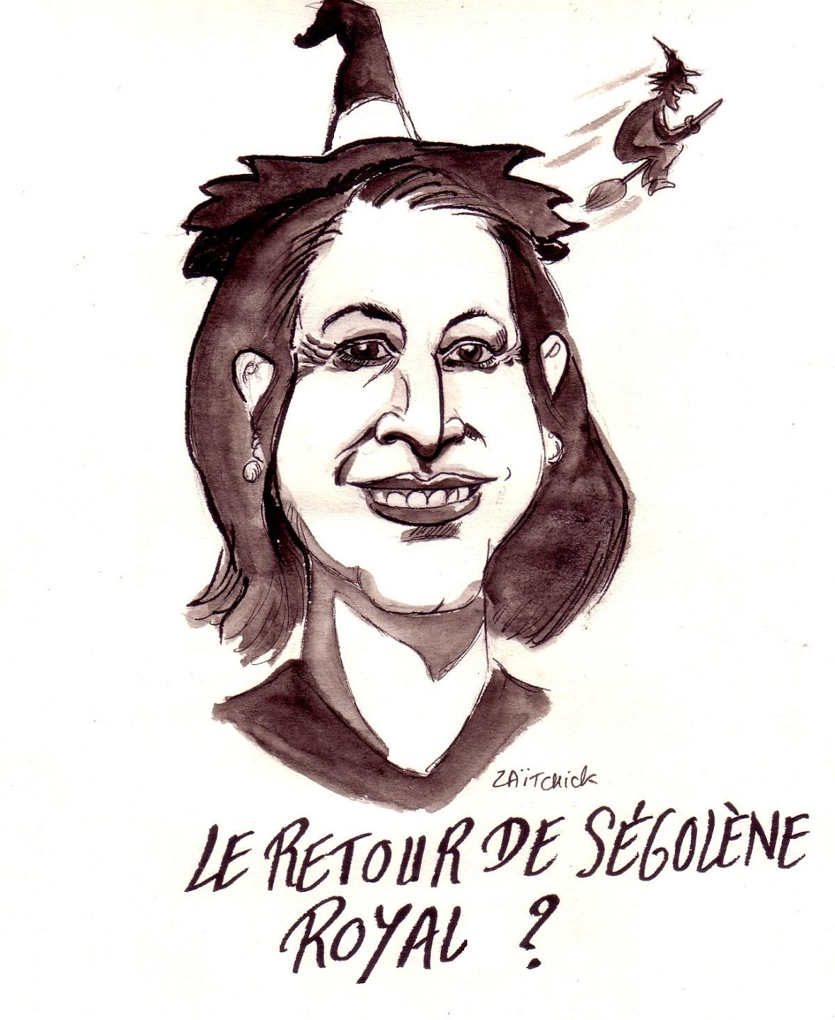 dessin d'actualité humoristique sur le retour politique de Ségolène Royal