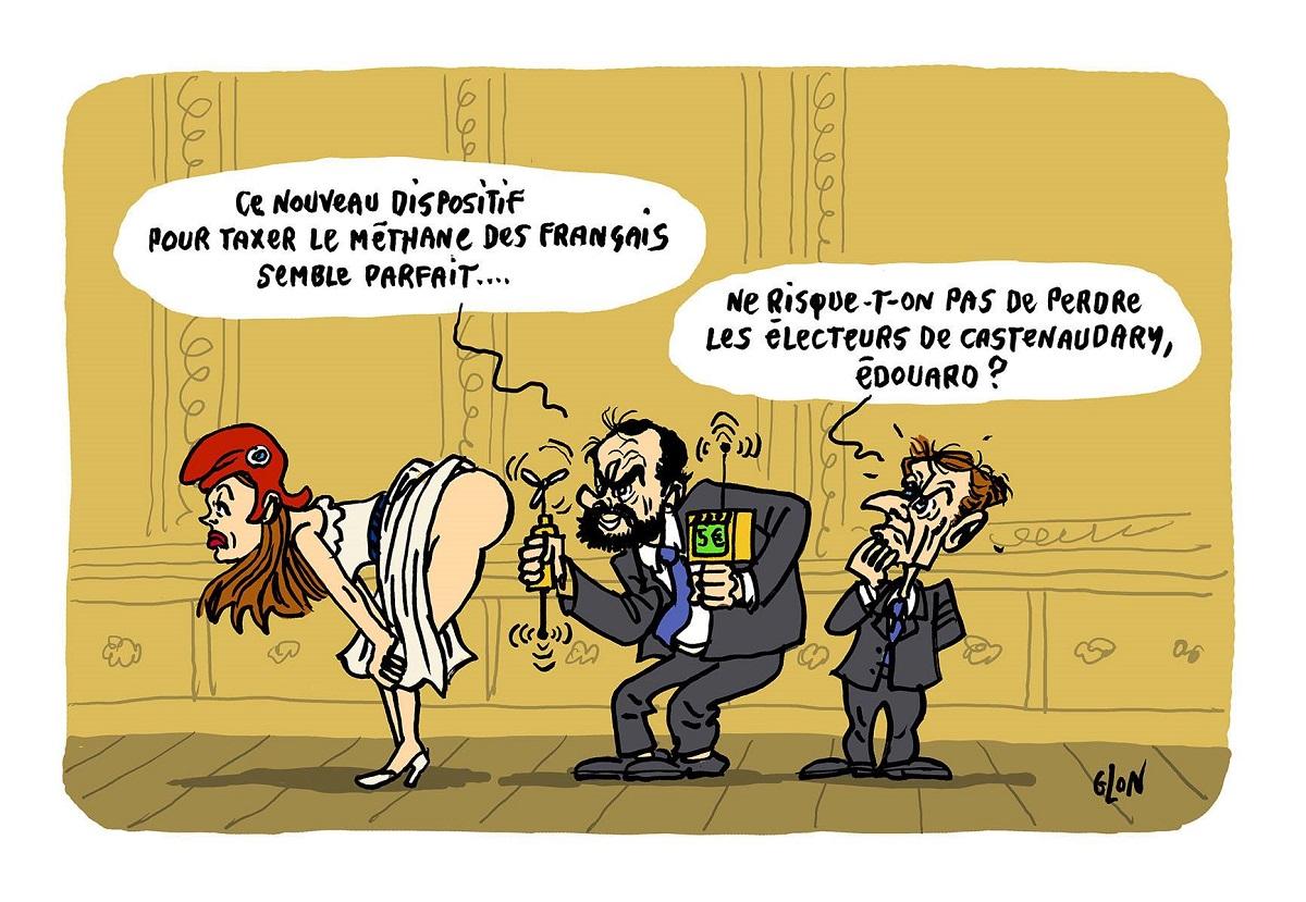 dessin d'actualité humoristique d'Emmanuel Macron et Édouard Philippe cherchant de nouveaux moyens de taxer les Français sur l'écologie
