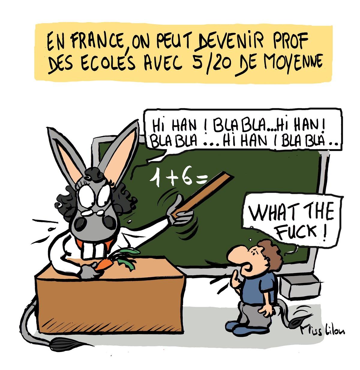 dessin d'actualité humoristique sur l'Éducation Nationale et le concours de Professeur des Écoles