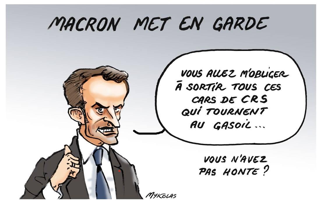 dessin d'actualité comique d'Emmanuel Macron mettant en garde les français pour le 17 novembre