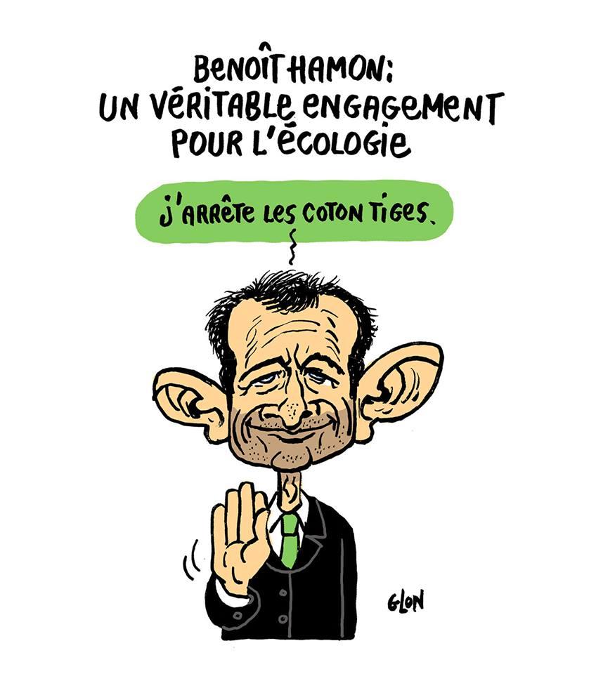 dessin d'actualité humoristique de Benoît Hamon s'engageant pour l'écologie
