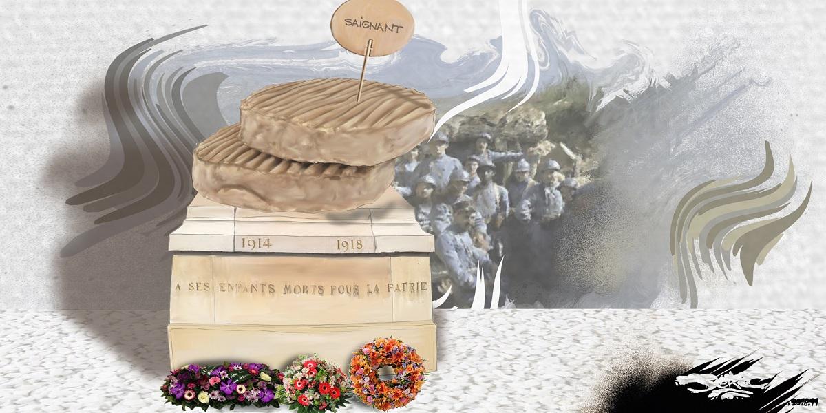dessin d'actualité humoristique sur les commémorations du centenaire de la fin de la première guerre mondiale