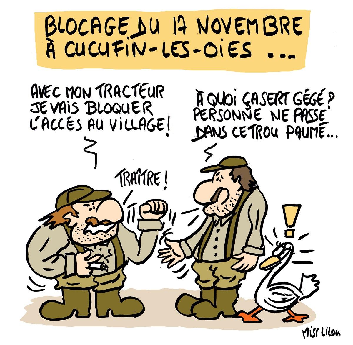 dessin d'actualité comique sur le blocage du 17 novembre dans les campagnes françaises