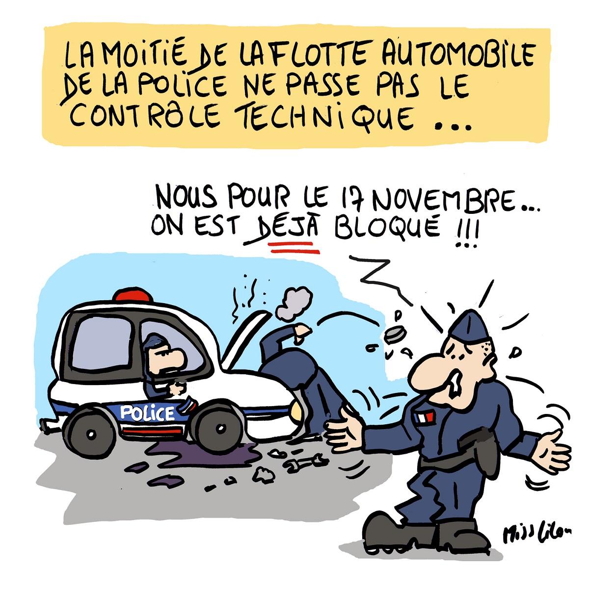 dessin d'actualité humoristique sur l'obsolescence des véhicules de la police française