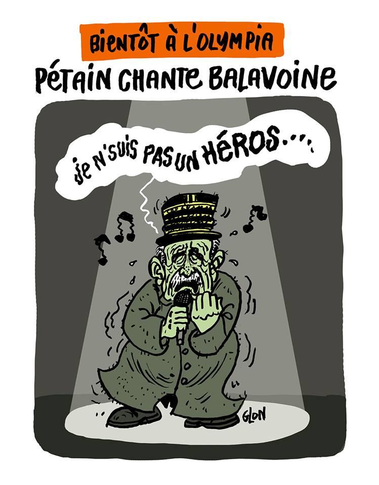 dessin d'actualité humoristique sur la polémique concernant l'hommage au Maréchal Pétain