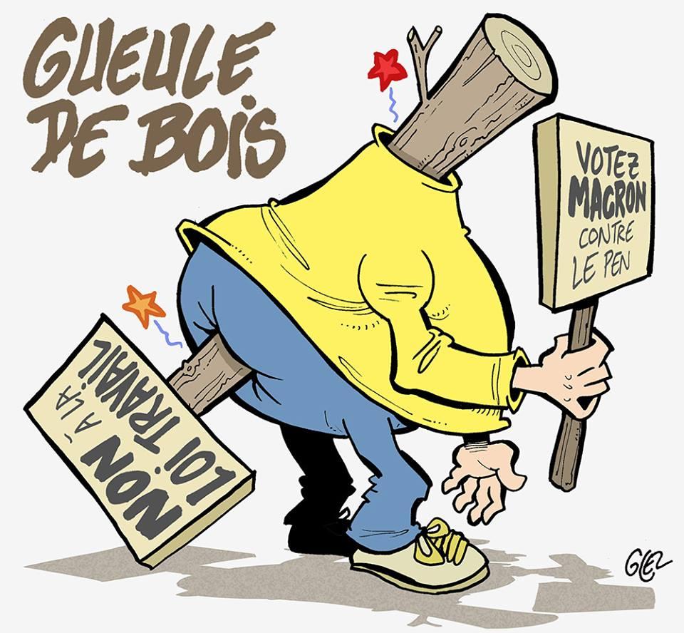 dessin d'actualité humoristique sur la schizophrénie de la politique française