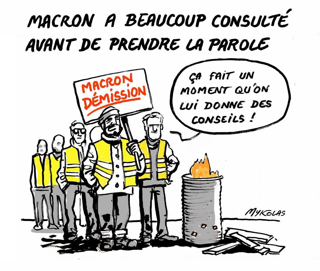 dessin d'actualité humoristique sur les consultations d'Emmanuel Macron avant sa prise de parole