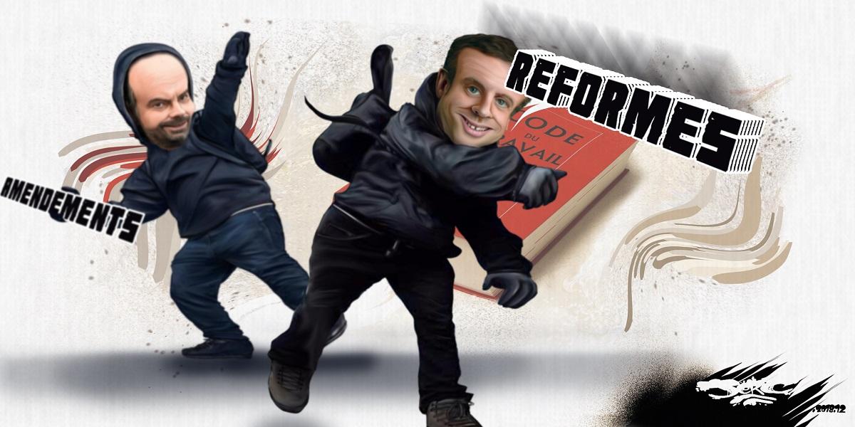 dessin d'actualité humoristique d'Emmanuel Macron et Édouard Philippe en casseurs du Code du Travail