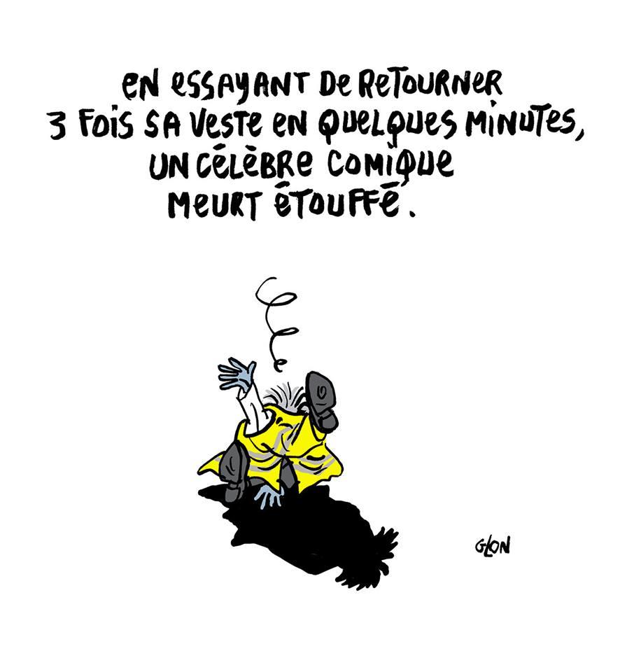 dessin d'actualité humoristique sur Franck Dubosc qui change d'avis sur les gilets jaunes