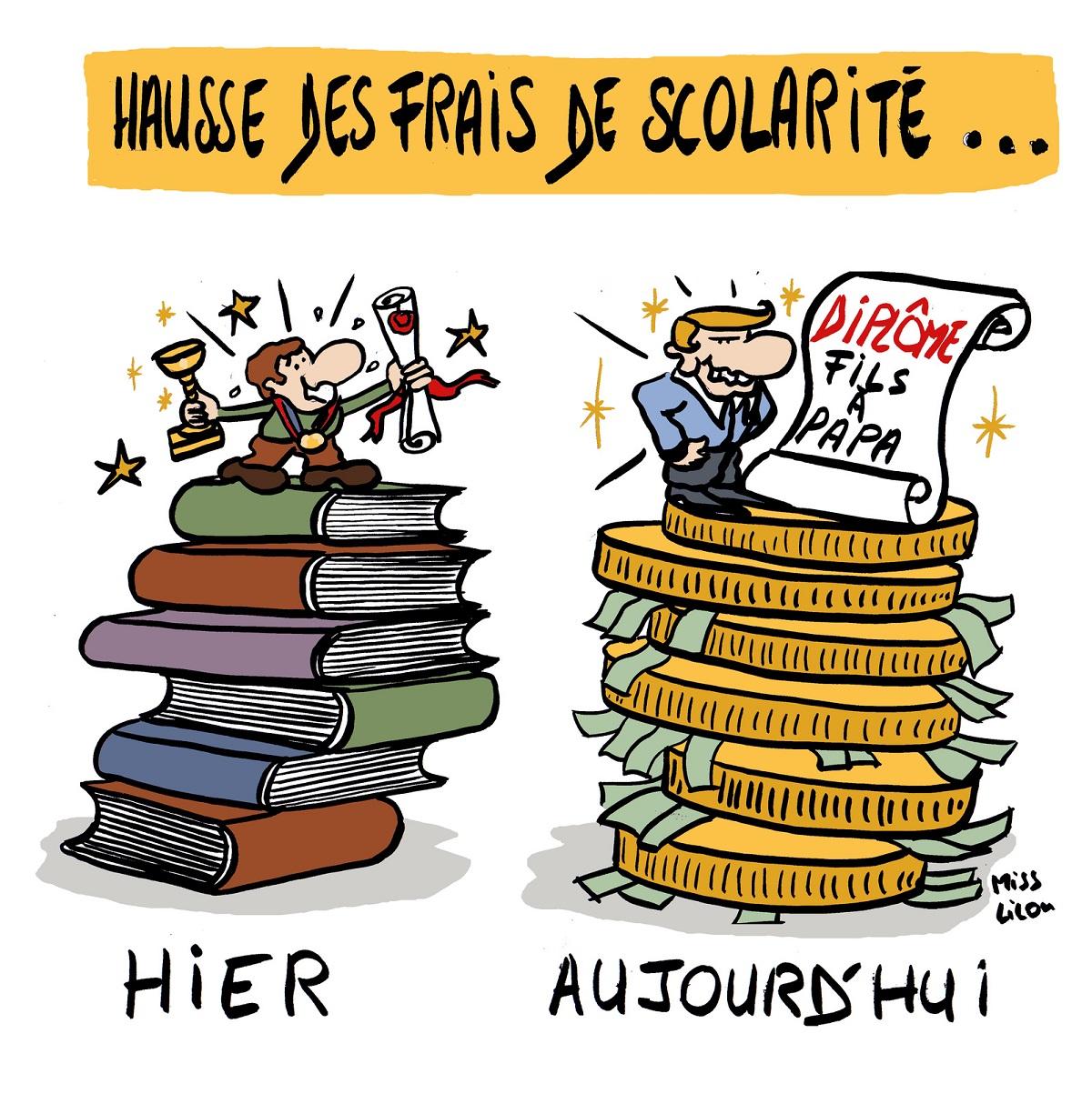 dessin d'actualité humoristique sur la hausse des frais de scolarité
