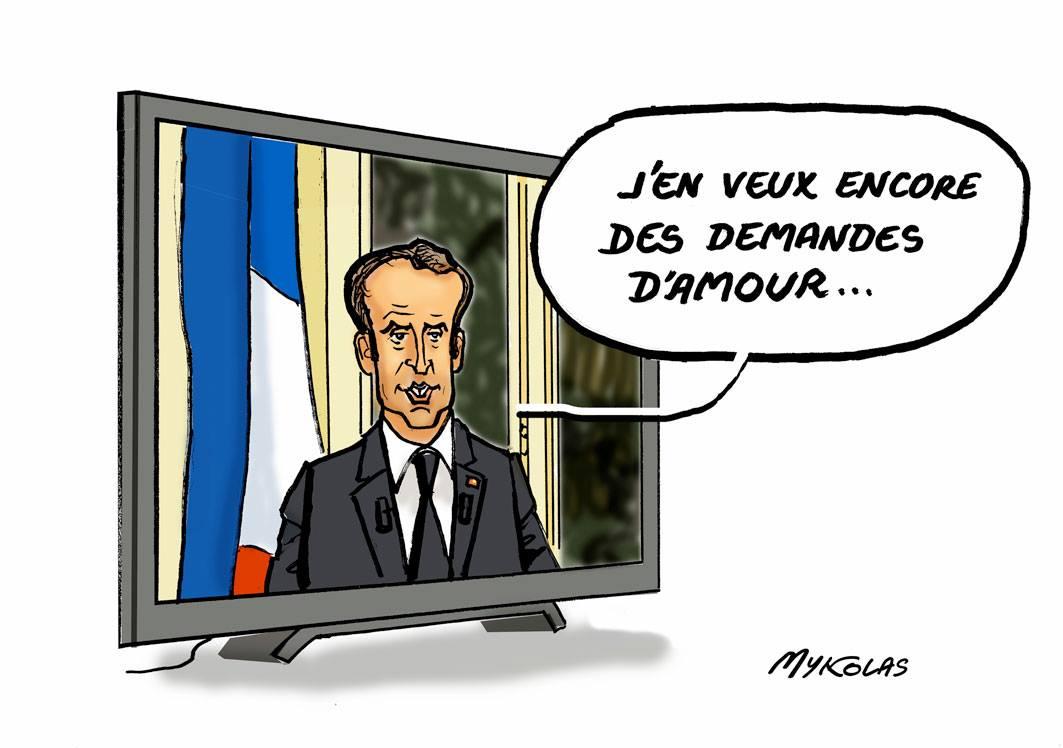 dessin d'actualité humoristique sur l'allocution télévisée d'Emmanuel Macron