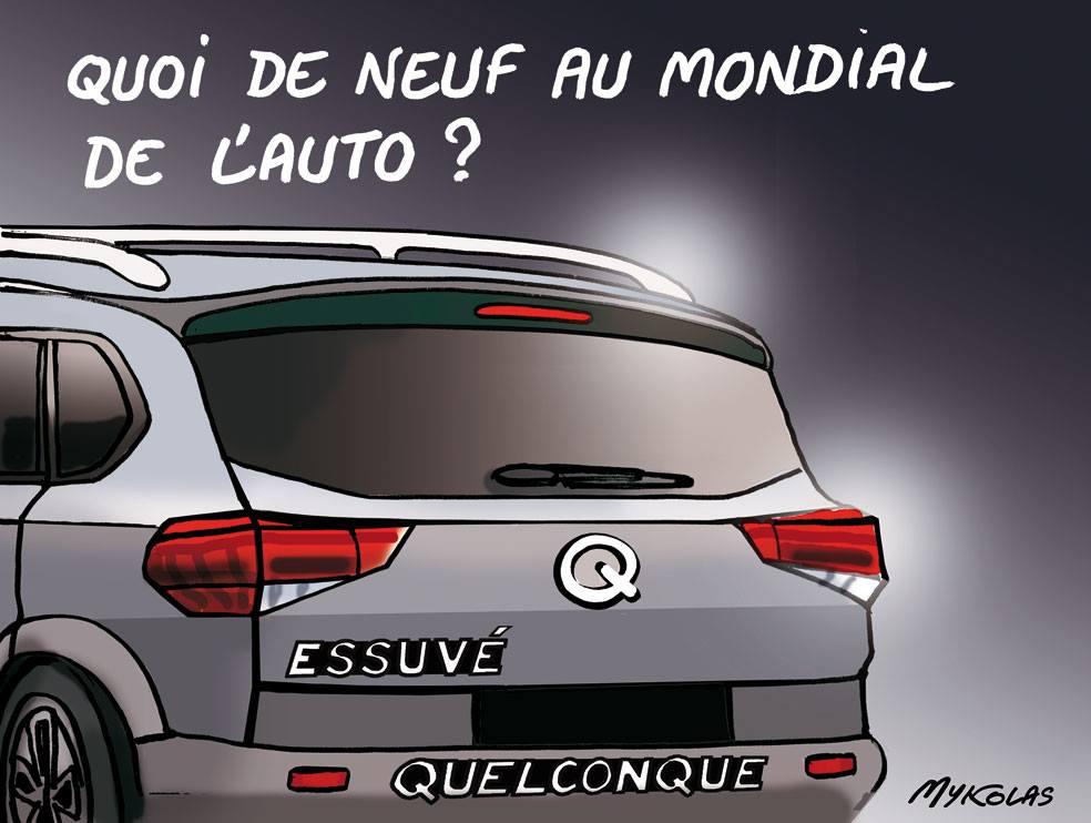 dessin d'actualité humoristique sur le mondial de l'auto