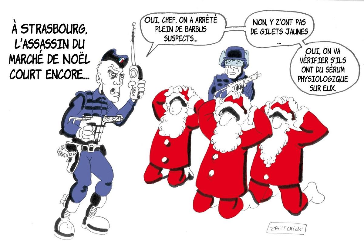 dessin d'actualité humoristique sur la chasse à l'homme après l'attentat de Strasbourg