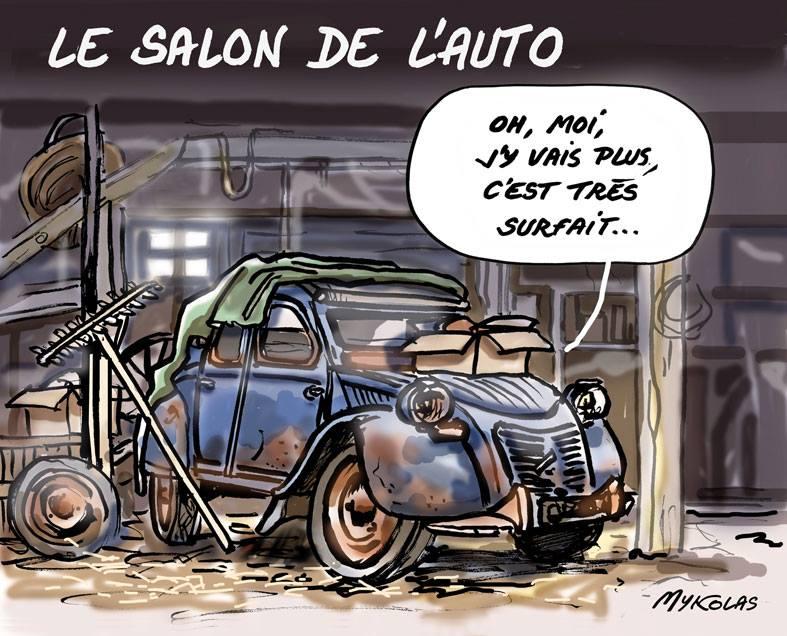 dessin d'actualité humoristique sur les 2 CV et le Salon de l'Auto
