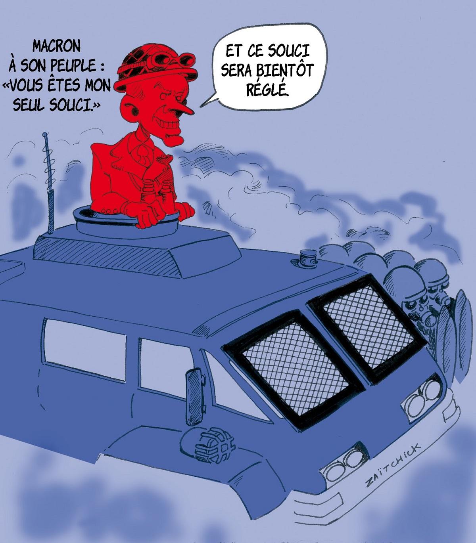 dessin d'actualité humoristique d'Emmanuel Macron s'apprêtant à affronter le peuple avec un véhicule blindé