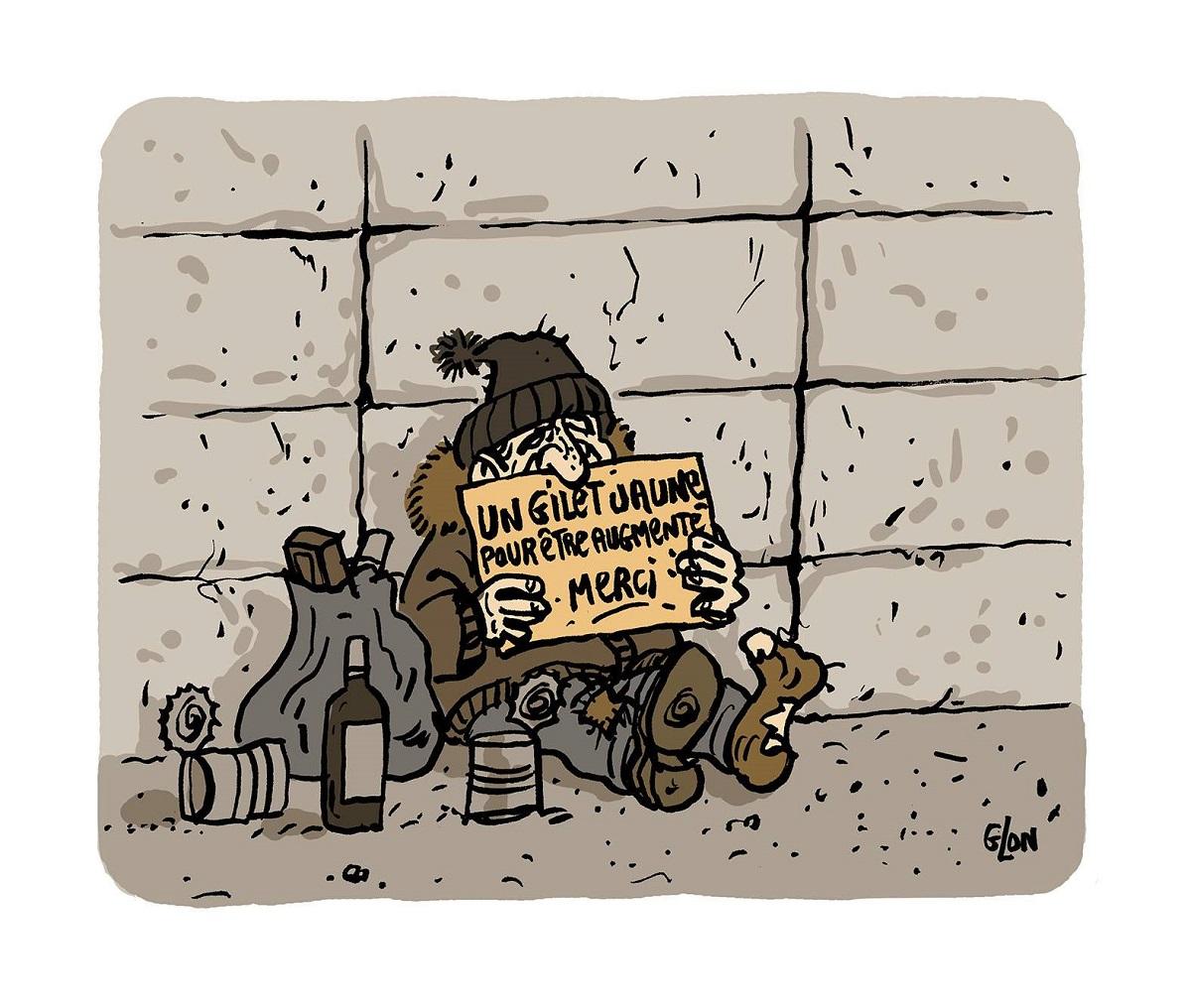 dessin d'actualité humoristique sur le mouvement de gilets jaunes et l'augmentation du SMIC