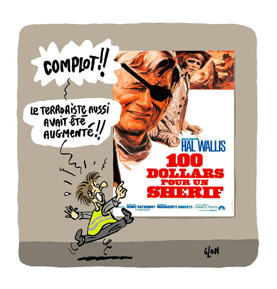 dessin d'actualité humoristique sur les gilets jaunes, l'augmentation du SMIC et la mort de Cherif Chekatt