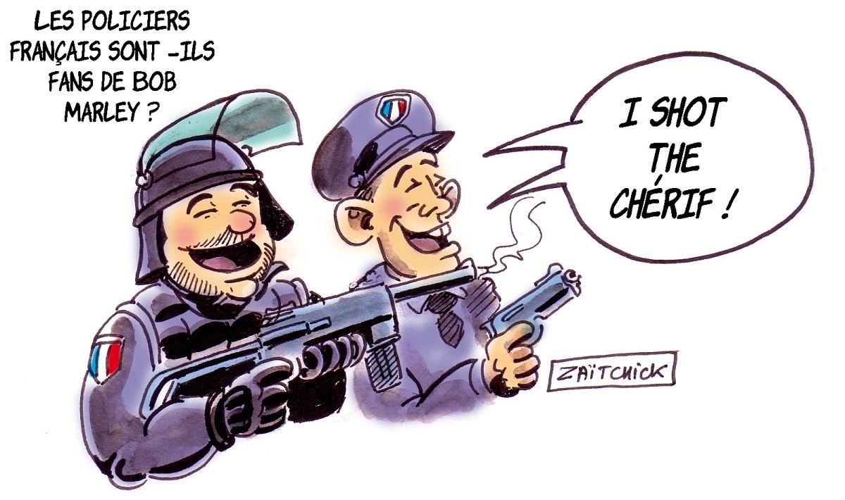 """dessin d'actualité humoristique sur la diffusion de la chanson """"I shot the sheriff"""" pendant les informations sur BFMTV"""