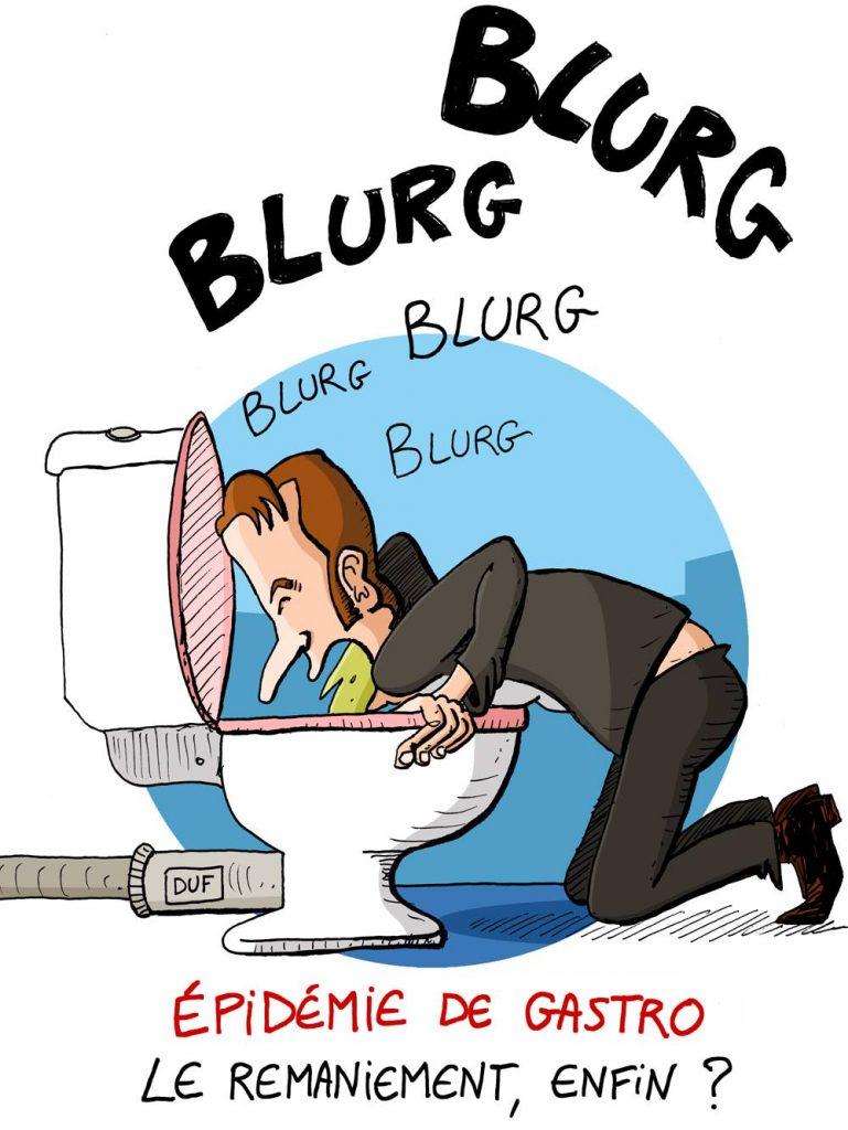 dessin d'actualité humoristique sur Emmanuel Macron et le remaniement ministériel