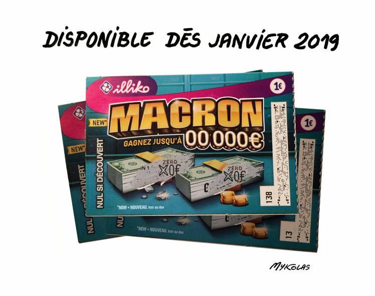 dessin d'actualité humoristique sur le ticket de jeu à gratter Emmanuel Macron