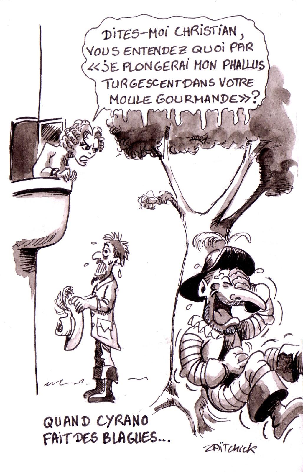 dessin humoristique sur Cyrano de Bergerac faisant une blague à Christian