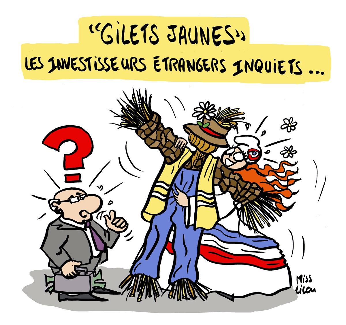 dessin d'actualité humoristique sur les investisseurs étrangers confrontés au mouvement des gilets jaunes