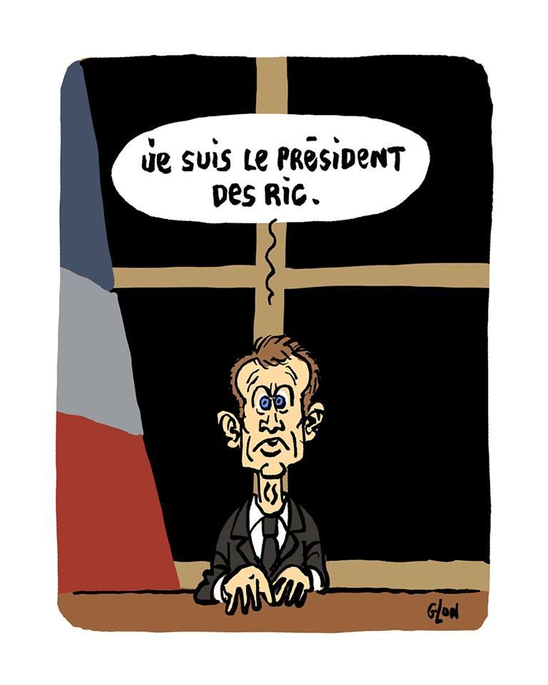 dessin d'actualité humoristique sur Emmanuel Macron et les référendums d'initiative populaire
