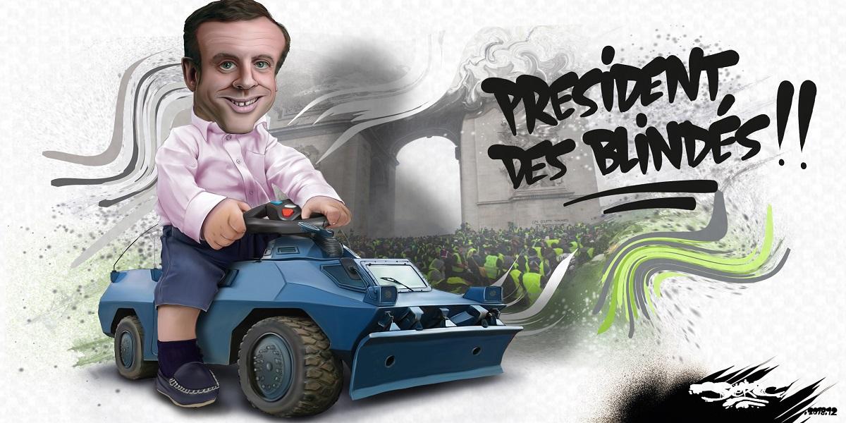 dessin d'actualité humoristique sur l'utilisation des véhicules blindés par Emmanuel Macron lors du mouvement des gilets jaunes