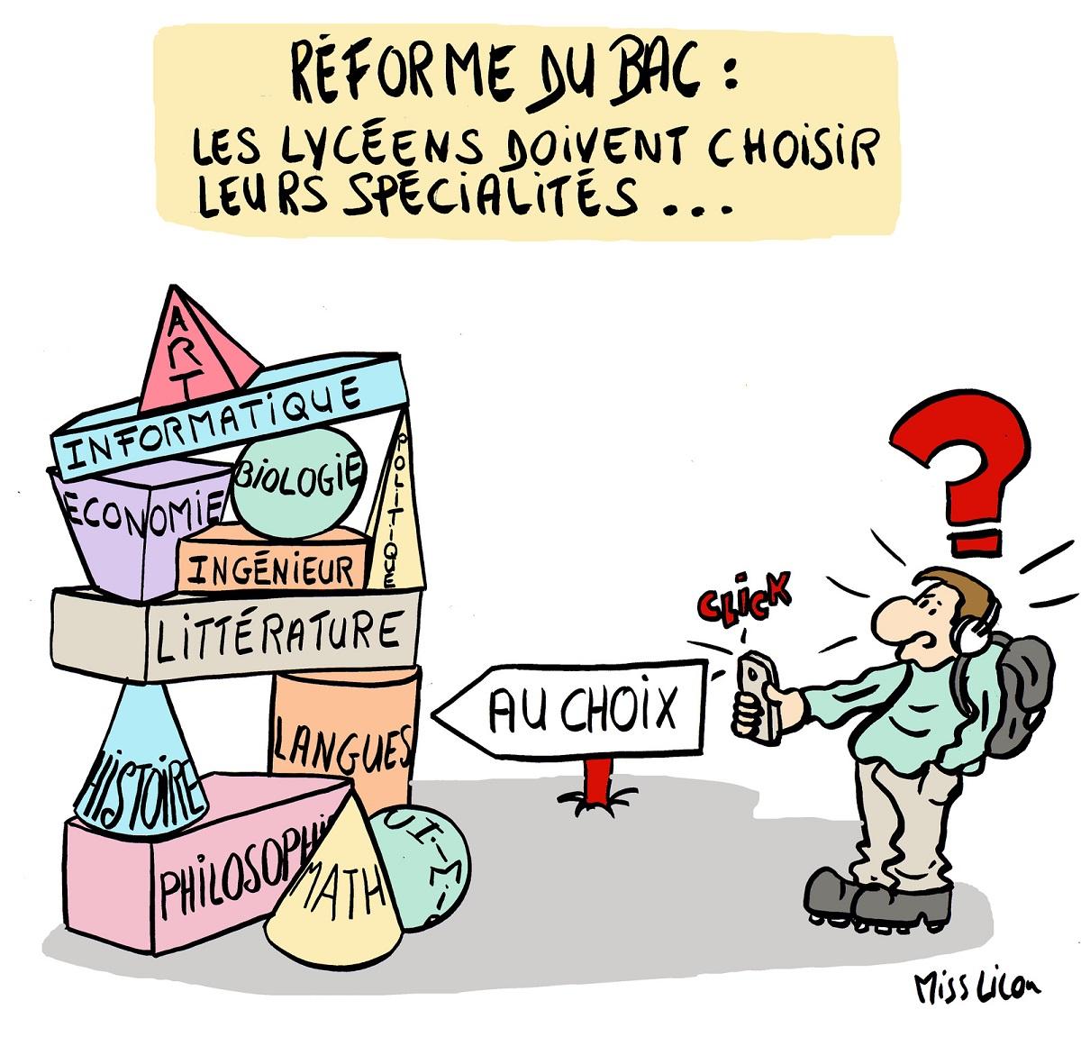 dessin d'actualité humoristique sur la réforme du Baccalauréat