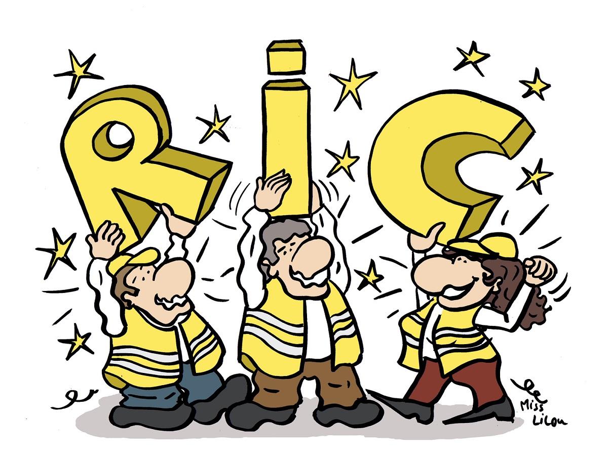 dessin d'actualité humoristique sur les gilets jaunes et le référendum d'initiative populaire