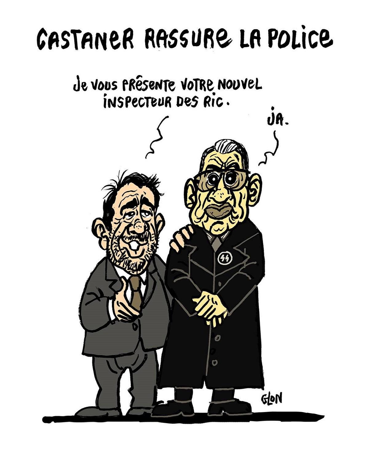 dessin d'actualité humoristique de Christophe Castaner et du référendum d'initiative populaire