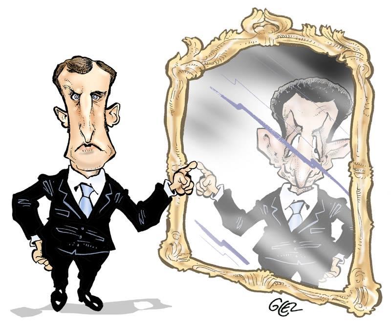 Caricature portrait d'Emmanuel Macron et Nicolas Sarkozy