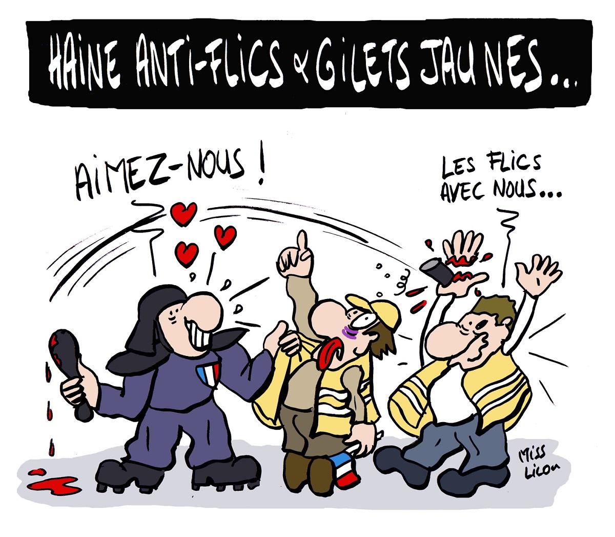 dessin d'actualité humoristique sur les gilets jaunes et la haine anti-flics
