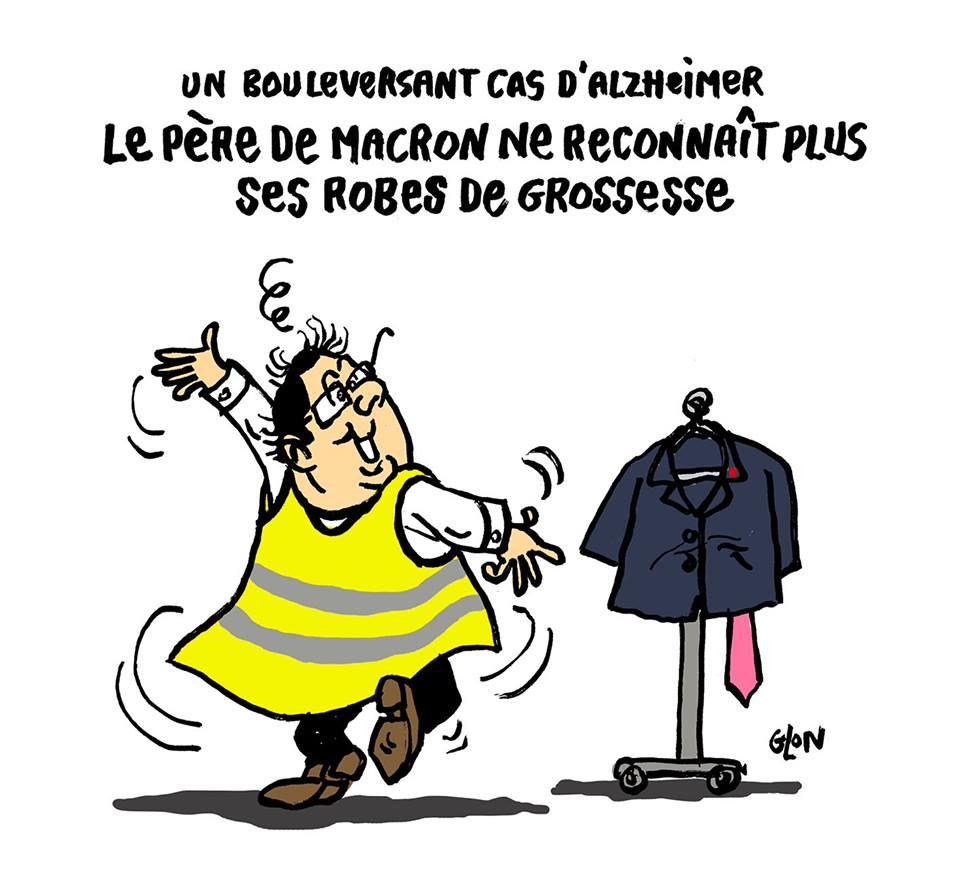 dessin d'actualité humoristique sur François Hollande et le mouvement des gilets jaunes